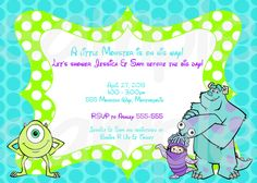 SALE Monsters Inc. Birthday Baby Shower Printable By JayJDesign, $5.00