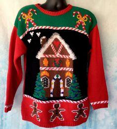 dab079b6b1d Vintage UGLY CHRISTMAS SWEATER Gingerbread House Christmas Trees Size  Medium