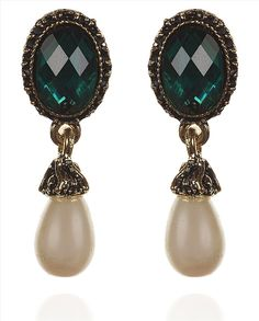 Buy Zephyrr Fashion Dangle & Drop Pierced Earrings Handmade Green Stone Faux Pearl Online at Low Prices in India   Amazon Jewellery Store - Amazon.in