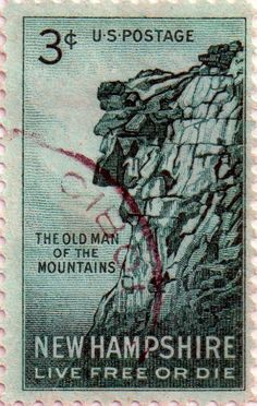 US Postage stamp, 3c, New Hampshire, Live Free or Die, The Old Man of the Mountains, issued 21 June 1955 Scott catalog 1068.
