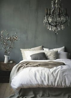 The 3 Biggest Home Decor Trends on Pinterest This Spring | StyleCaster | Grey Bedroom, Chandelier Http://FashionCognoscente.blogspot.com