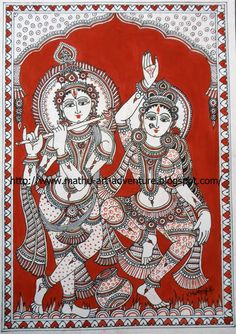 Kalamkari - Radha Krishna  Author: Mathu / Labels: Kalamkari. Ref: http://mathu-art-adventure.blogspot.com.au/