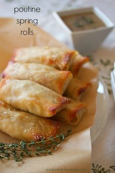 poutine spring rolls - a unique appetizer or light meal (scheduled via… Canadian Cuisine, Canadian Food, Canadian Poutine, Canadian Recipes, Yummy Appetizers, Appetizer Recipes, Italian Appetizers, Chicken Appetizers, Chicken Recipes