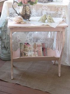 Shabby Chic Pink Table - Vintage Lyre Table - Magazine Rack Shabby Cottage Chic, Chippy distressed pink paint, Vintage end stand Shabby Chic Living Room, Shabby Chic Interiors, Shabby Chic Bedrooms, Shabby Chic Kitchen, Shabby Chic Homes, Shabby Chic Furniture, Painted Furniture, Bedroom Furniture, Antique Furniture