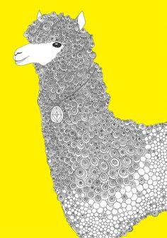 Yellow-Alpaca Art Print