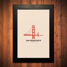 "San Francisco Minimalist City Poster - 12"" x 18"""