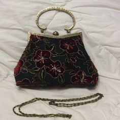 Vintage style beaded bag Vintage style bag can go as a clutch or comes with a chain for over the shoulder. Beads and velvet. Used once. Interior perfect. Bags