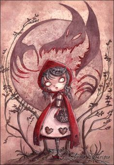 Annie Rodrigue painting.  Little Red Riding Hood.  <3 this.