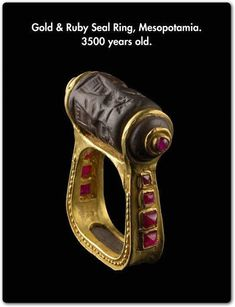ancient gold and ruby seal ring mesopotamia Egyptian Jewelry, Ancient Jewelry, Antique Jewelry, Vintage Jewelry, Greek Jewelry, Viking Jewelry, Bijoux Design, Schmuck Design, Jewelry Design