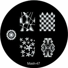 """MASH Nail Art Stamp Stamping Image Plate No 47 by MASH. $2.99. Each plate measures about 1.8"""" (5.5cm in diameter). Competitors single plates retail for up to $8.00. Has sanded edges and paper backing for easy, comfortable, and safe handling along with protective nylon screen. MASH nail art image plate scraper & stamper set sold separately. Mash Nail Art Image Plate number 47 has five designs including four unique full nail patterns.. The hottest new set of image plates from th..."""