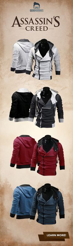 Our international best seller, hands down. An absolute favourite around the globe that sells faster than you can say Desmond Miles. The Assassin's Creed III (DM Original) has been refitted in wi(Geek Stuff) Moda Geek, Der Gentleman, Cool Hoodies, Men's Hoodies, Mens Fashion, Fashion Outfits, Fall Fashion, Geek Culture, Assassins Creed