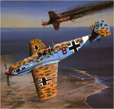 Messerschmitt Bf-109E-7 trop. de la JG.27, piloto; Tnte. Werner Schoer derriba a un P-40 Tomahawk IIb del 250 Squadron, RAF, Aqir, Mayo de 1941. Arcadiusz Wróbel