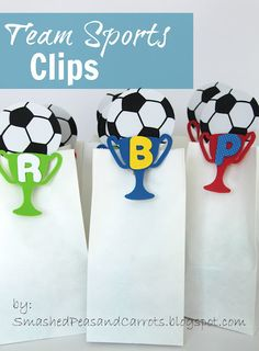 Cute sports clips for snack bags at soccer!  Or really any sport! #foamcrafts