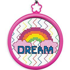 "My First Stitch (Dream Rainbow) -  Learn to cross-stitch! Kit includes everything kids need to create their first cross-stitch: 3""Diam. frame, 14ct. white Aida, cotton floss, needle, instructions and chart. Ages 3+. $3.98 CAD"