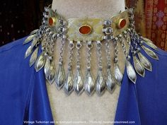 Vintage Turkoman necklace or forehead adornment  fire gilding, carnelians