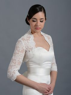 3/4 sleeve bridal alencon lace bolero jacket - Lace_074
