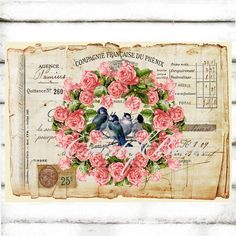 French Vintage Antique Ephemera Receipt Pink Rose Garland Bluebirds Large Instant Digital Download Printable Floral Graphic Transfer