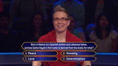 Today, Jen Awe is the first #MillionaireTV contestant of the #HappyNewYear. And #SalmaHayek greets her with this question. What's the correct #FinalAnswer? Tune-in to Friday's #MillionaireTV with host Chris Harrison and see. Go to www.millionairetv.com for time and channel to watch.