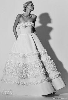 carolina herrera spring 2018 bridal strapless straight across neckling simple romantic ball gown a line wedding dress with pockets (03) mv -- Carolina Herrera Bridal Spring 2018 Wedding Dresses