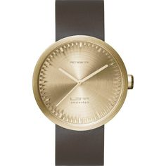 LEFF amsterdam D42 Tube Watch | Brass/Brown Leather Strap