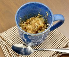 1 small apple (peeled, and thinly sliced) 2 Tbsp quick-cooking oats 2 Tbsp flour 1 Tbsp brown sugar 1 Tbsp butter 1/4 tsp cinnamon Pinch sal...