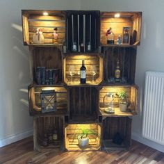 # Box decoration wedding 12 pieces box cabinet with LED lighting Cafe Interior Design, Cafe Design, Crates On Wall, Home Room Design, House Design, Chill Out Room, Home Bar Decor, Rustic Cafe, Indoor Outdoor Furniture