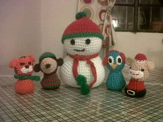 Muñeco de nieve y amigos  Facebook: Punto Ines - crochet
