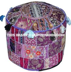 Bohemian Patch Work Pouf Ottoman,Traditional vintage Indian Pouf floor stool/foot Stool, Christmas Decorative Chiar Ottoman Cotton Art Decor Cushion Cover Inch All Furniture Shop Ottoman Cover, Round Ottoman, Large Ottoman, Ikea Pouf, Tapestry Bedding, Dorm Tapestry, Wall Tapestries, Pouf Footstool, Patchwork Patterns