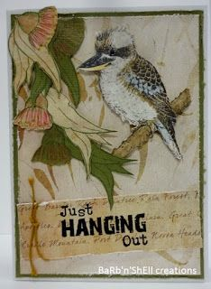 BaRb'n'ShEll Creations- Kaszazz Aussie Animals-Kookaburra -  BaRb Australian Christmas Cards, Aussie Christmas, Australian Animals, Bird Cards, Card Making Techniques, Animal Cards, Paper Roses, Watercolor Cards, Xmas Cards
