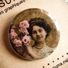 Badge vintage Ces fleurs pour vous - Assuna vintage crafts