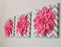 """Set Of Three Pink Dahlias on Gray and White Chevron 12 x12"""" Canvases"""