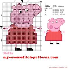 Papa Pig, Hama Beads Patterns, Beading Patterns, Cross Stitch Designs, Cross Stitch Patterns, Graph Paper Drawings, Cross Stitch Beginner, Pixel Pattern, Dmc