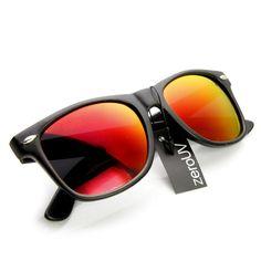 Retro Matte Preto Horned Rim Flash Lentes de óculos de sol 8025 - Black  Fire Rim 1efe41b5f7