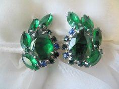 Vintage Green Blue RHINESTONE Crescent haped Juliana style Clip-on Earrings
