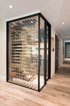 Glass Wine Cellar, Home Wine Cellars, Wine Cellar Design, Bar A Vin, Aesthetic Space, Traditional Fireplace, Wine Wall, Custom Built Homes, Frames On Wall