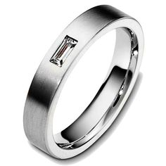 Titanium, Straight Baguette Wedding Band | Item#48746TI by Wedding Bands.