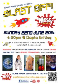 Blast Off Messy Church advertising flyer - space, galaxies, stars, rockets Advertising Flyers, Ministry Ideas, Galaxy Art, Space Station, Church Ideas, Children And Family, Rockets, Photo Booth, Galaxies