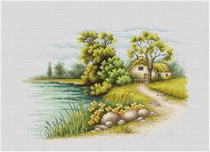Thrilling Designing Your Own Cross Stitch Embroidery Patterns Ideas. Exhilarating Designing Your Own Cross Stitch Embroidery Patterns Ideas. Cross Stitch Love, Cross Stitch Pictures, Cross Stitch Cards, Counted Cross Stitch Patterns, Cross Stitch Designs, Cross Stitching, Cross Stitch Embroidery, Modern Cross Stitch, Cross Stitch Landscape