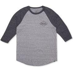 Rip Curl Men's Undertow Custom Graphic-Print Logo Raglan-Sleeve... (£25) ❤ liked on Polyvore featuring men's fashion, men's clothing, men's shirts, men's t-shirts, charcoal, mens raglan t shirt, mens cotton t shirts, mens graphic t shirts, mens t shirts and mens raglan shirts