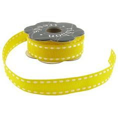 Yellow & White Stitched Grosgrain Ribbon | Shop Hobby Lobby