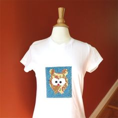 Tshirt womens mouse paisley slim fit white applique by BoosTees, $18.00