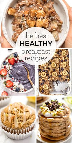 Here's your source for the BEST healthy breakfast recipes! We've got everything from quinoa bowls, lemon poppyseed muffins, homemade pancakes, easy baked oatmeal, how to make chia pudding, overnight oats, smoothie bowls - you name it! Plenty of vegan, gluten-free and dairy-free options. Breakfast Cake, Breakfast Bowls, Quinoa Breakfast, Breakfast Ideas, Healthy Breakfast Recipes, Clean Eating Recipes, Healthy Food, Healthy Eating, Homemade Pancakes