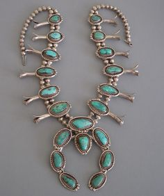 NAVAJO sterling and turquoise squash blossom necklace. circa 1960