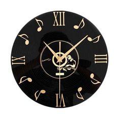 Retro Black Plastic CD Wall Clock Fashion Home Decoration(12'',Musical Notes)