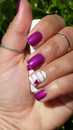 "Today's DIY shellac/gel mani: bright purple ""Star Burst"" by Gelish, accent nail in white with gold stripes and a matching purple heart 