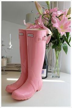 soft pink hunter boots.