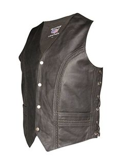 Men's Black Braided Leather Pirate Vest - Deluxe Adult Costumes