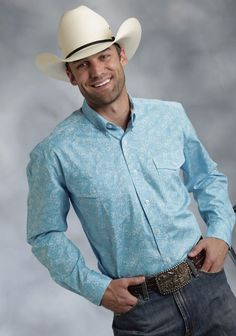 Roper® Mens Turquoise Paisley Long Sleeve Cotton Button Down Western Shirt