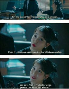 Because of her sins he expects her to be a chicken if she is reincarnated. And that's her reply to his concern. Korean Drama Funny, Korean Drama Movies, Korean Dramas, Quotes Drama Korea, Korean Drama Quotes, Man To Man Kdrama, Best Kdrama, Drama Fever, Kdrama Memes