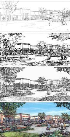 Edens Avant. Pooler Marketplace. Drawing process. Renderings by Bruce Bondy, Bondy Studio.